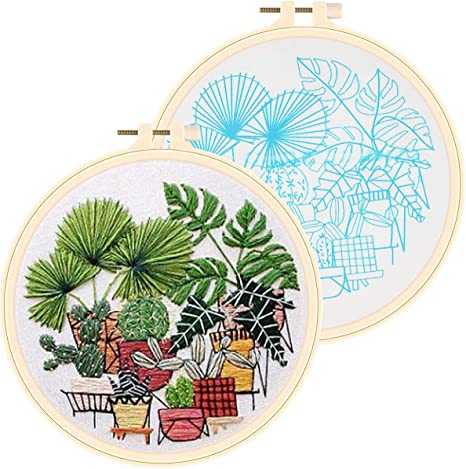 for DIY Beginner Starter Stitch Kit for Art Craft Handy Sewing Including Color Pattern Embroidery Cloth,Embroidery Hoop,Color Threads,Tools Kit kit 1 Stamped Embroidery Kit