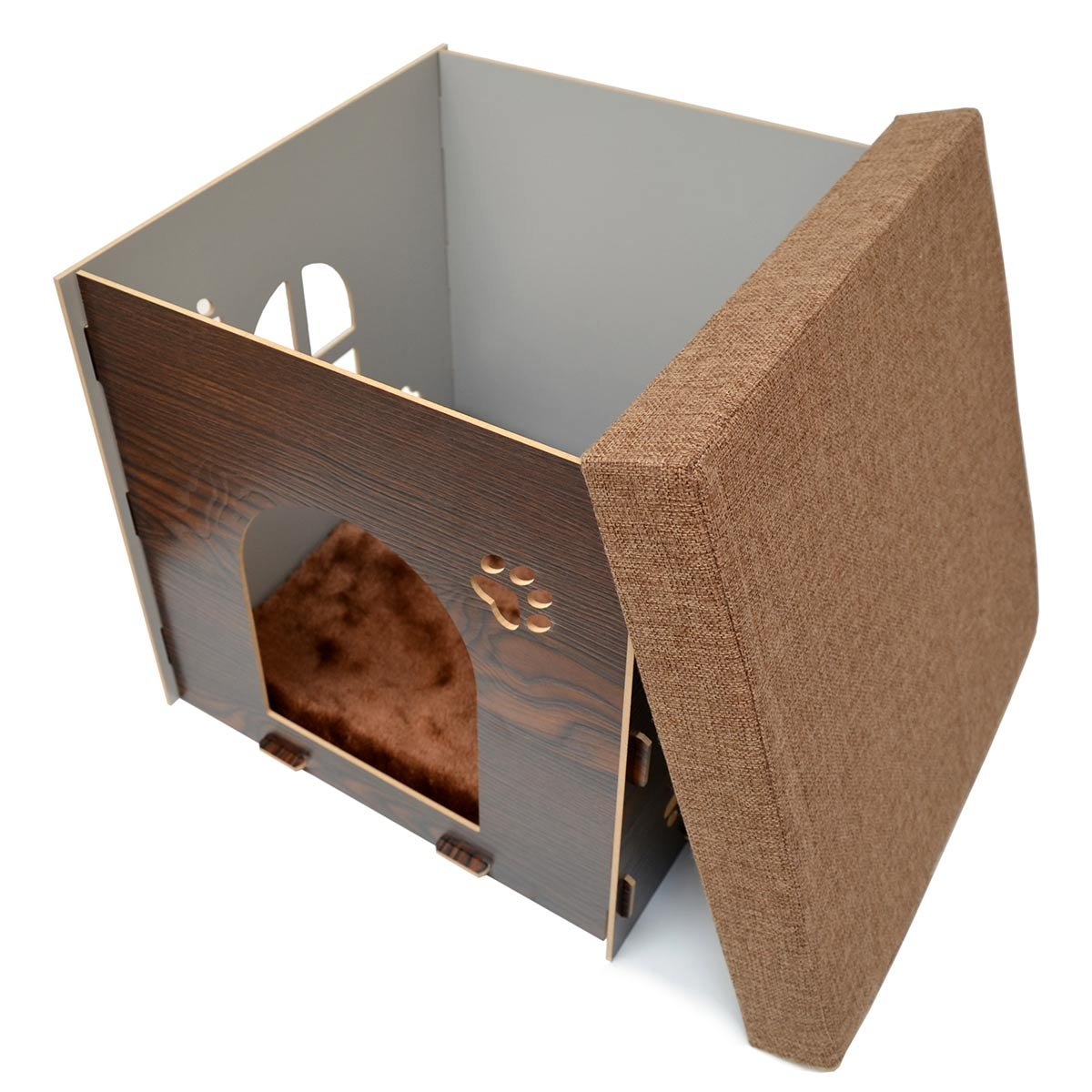 eyepower Caseta para Perro Gato 41x41x41cm talla mediana M cama caja cuadrada para mascota con tapa acolchada para sentarse puf escabel Marrón: Amazon.es: ...