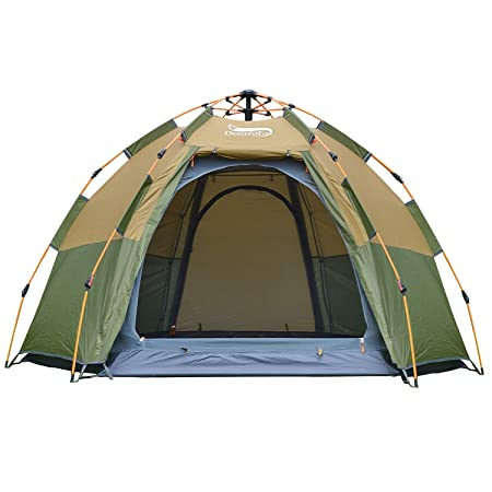DESERT FOX Instant Pop-up Tent, 3-4 Person Hexagon Dome Family Tent, Automatic 4 Season Portable Backpacking Tent for Camping, Hiking, Traveling