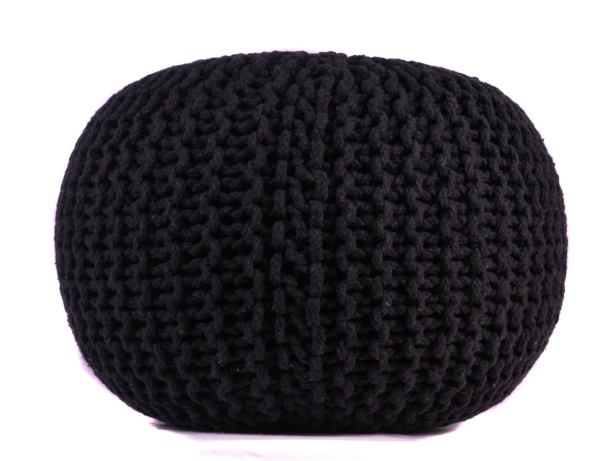Pouf Ottoman Black Round Hand Knitted Cable Style Cotton Dori ottoman Braided Rope Floor Ottomans Comfortable Seat Footstool Black 16''x 20'' By MystiqueDecors