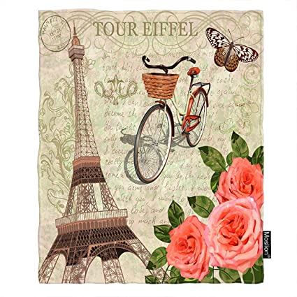 10a2e0700ebc3d Moslion Paris Throw Blanket Vintage France Eiffel Tower with Bicycle  Butterfly Leaf Rose Flower Blanket Home
