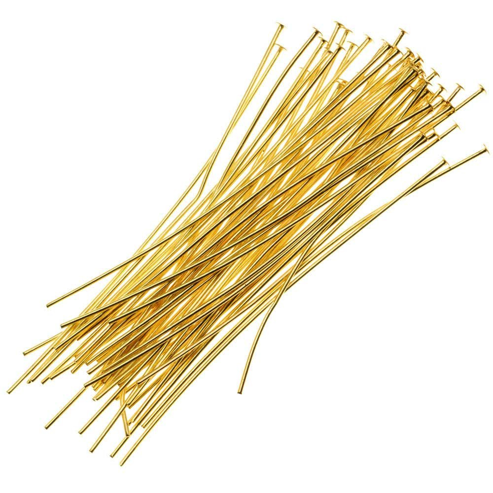 Gold Tone Brass 25 Pieces Beadaholique Head Pins 3 Inches Long and 22 Gauge Thick