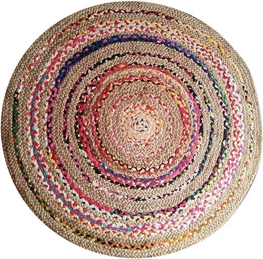 ZAIPP Multicolor Redondo Alfombra,Tejido A Mano Reversible Yute & Algodón Alfombras Marroquí Estilo Nacional Sala De Estar Decoración Alfombra Vistoso Diámetro100cm(39inch): Amazon.es: Hogar