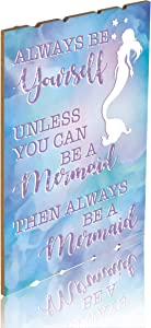 Something Unicorn - Wall Hanging Mermaid Sign for Teen Girls, Kid's Bedroom, Nursery, College Dorm, Girls Room Decor. Amazing Gift for Mermaid Lovers,12x17 in, Mermaid Version