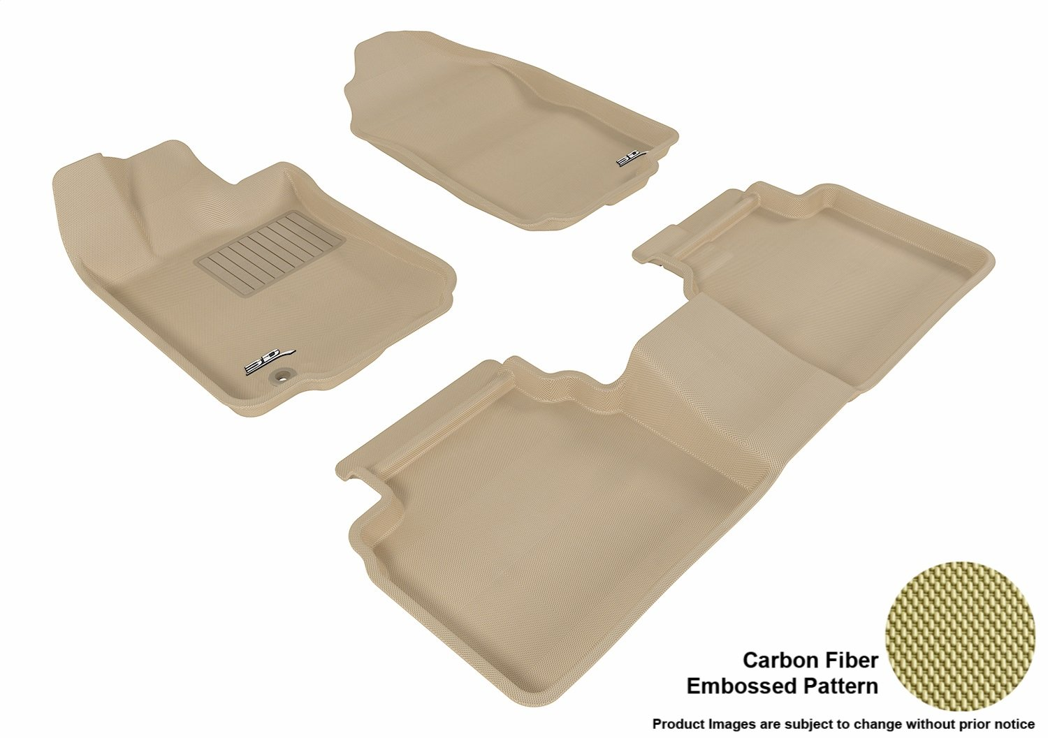 3D MAXpider Second Row Custom Fit All-Weather Floor Mat for Select Ford Fusion Models L1FR01321509 Black Kagu Rubber