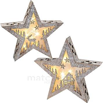 Schon Matches21 Weihnachtlicher Stern Holz Weihnachtsdeko Mit Motiv Haus / Elch 1  Stk. Mit LED Beleuchtung