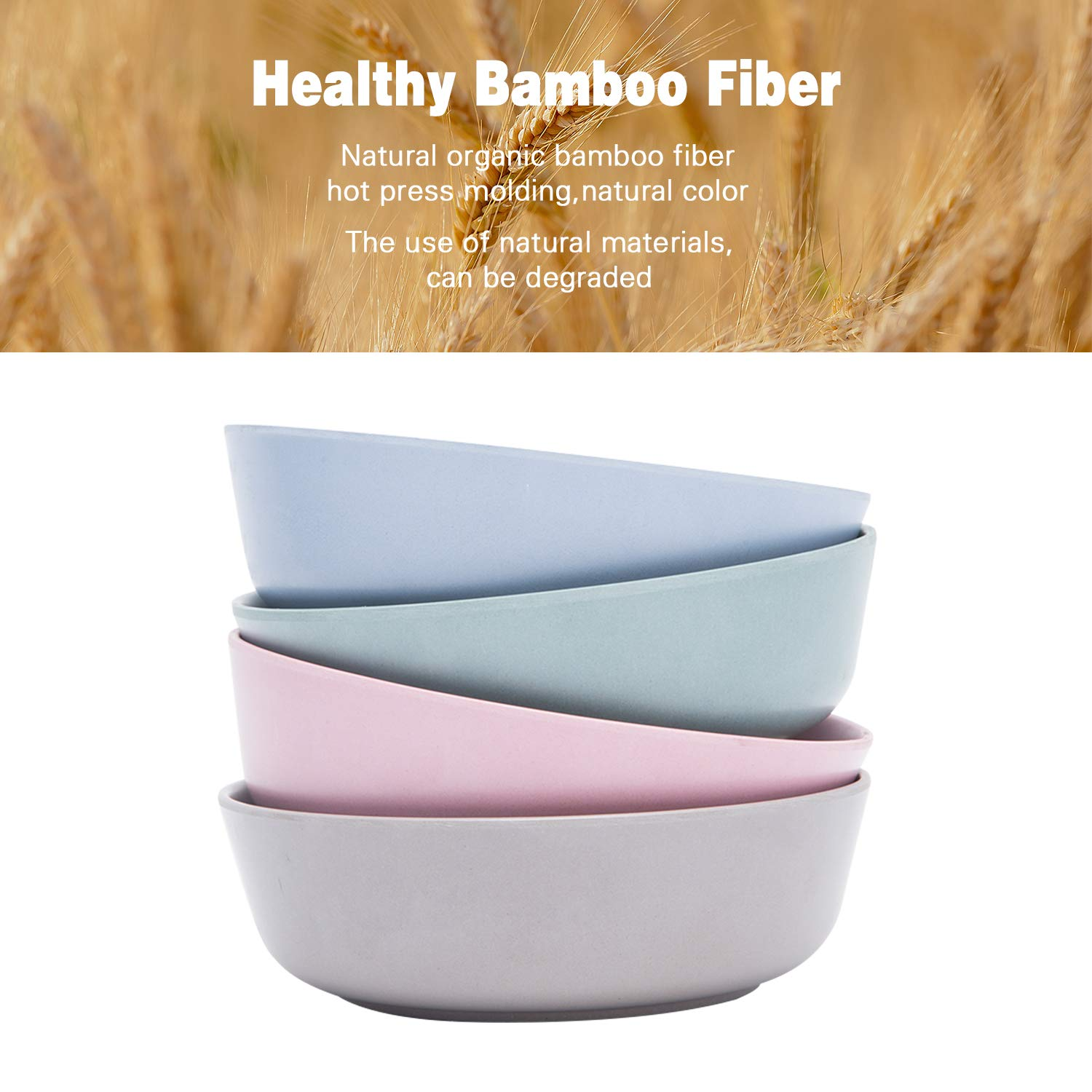 4pcs Bamboo Kids Bowls (20 fl oz) for Baby Feeding, Non Toxic & Safe Toddler Bowls, Eco-Friendly Tableware for Baby Toddler Kids Bamboo Toddler Dishes & Dinnerware Sets (Freshness) by HM-tech