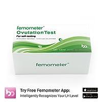 Femometer 20 Ovulation (LH) Teststreifen-Set, hochsensibel und genaue Ergebnisse, Smart Free App (iOS & Android), automatische Erkennung von Testergebnissen