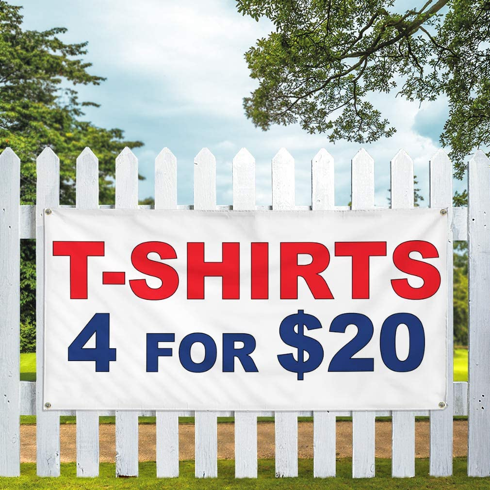 Vinyl Banner Multiple Sizes T-Shirt 4 for $20 Red Blue Retail Outdoor Weatherproof Industrial Yard Signs 6 Grommets 36x72Inches