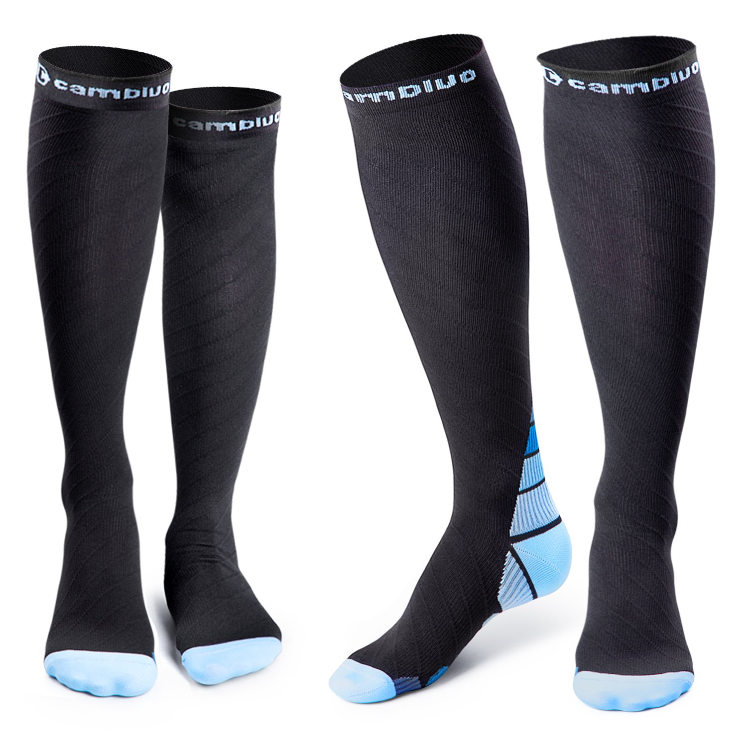 Cambivo 2 Pairs Compression Socks for Women & Men, Sports/Blue, L/XL (Women 8-15.5 / Men 8-13)