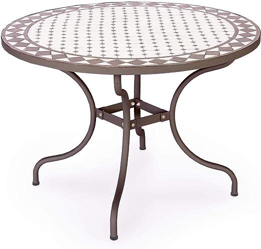 ARREDinITALY - Mesa para Exteriores Redonda de 110 cm con Superficie de Mosaico de cerámica: Amazon.es: Jardín