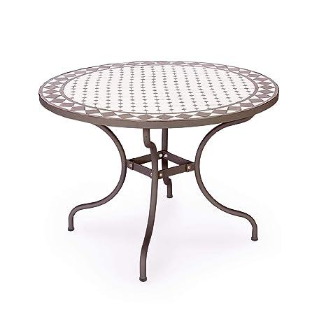 ARREDinITALY Table d\'extérieur Ronde de 110 cm avec Plateau ...