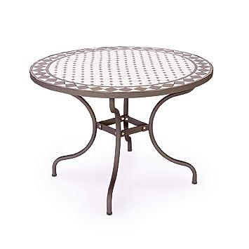 ARREDinITALY Table d\'extérieur Ronde de 110 cm avec Plateau mosaïque ...