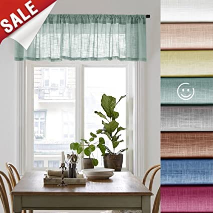 Delicieux Linen Textured Sheer Valances For Windows Rod Pocket Sheer Curtain Valance  For Bedroom 16 Inches Long