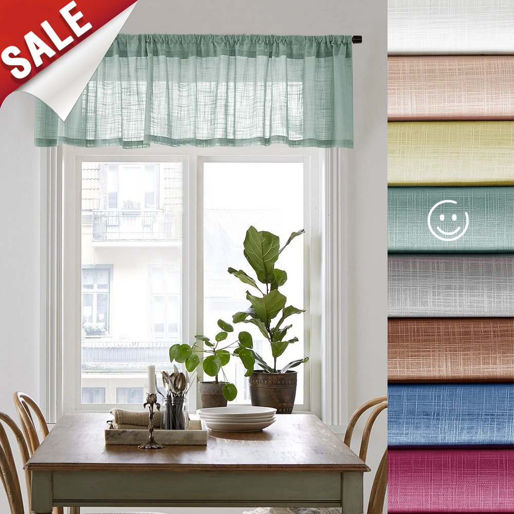 Linen Textured Sheer Valances for Windows Rod Pocket Sheer Curtain Valance for Bedroom 16 inches Long Living Room Valance Curtains, 1 Panel, Blue Haze