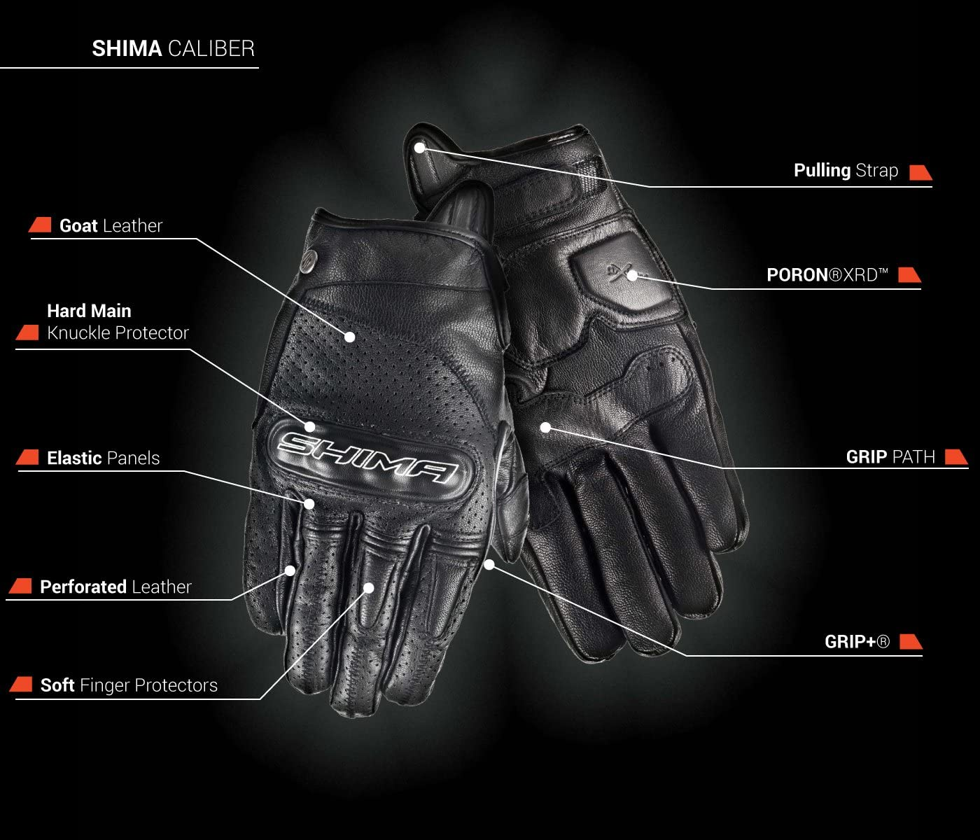 Shima CALIBER S-XXL D/ét/é Ventil/é Millesime R/étro Classique Gants Moto Blanc Taille:L