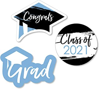 product image for Big Dot of Happiness Light Blue Grad - Best is Yet to Come - DIY Shaped Light Blue 2021 Graduation Party Cut-Outs - 24 Count