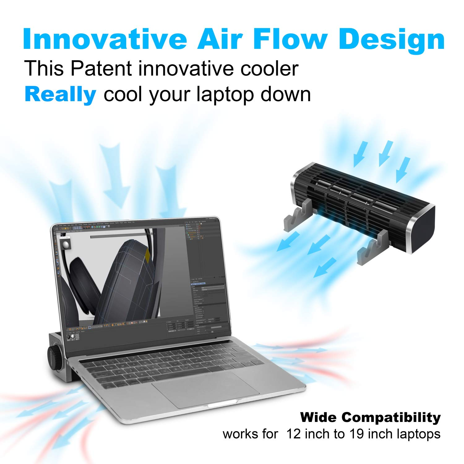 oimaster Laptop Cooler with Adjustable Stand, USB Laptop Cross-Flow Cooling Fan Pad & Phone Cooling Holder by oimaster (Image #2)