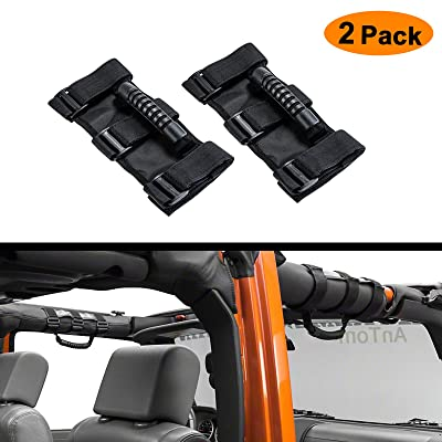 AnTom Jeep Wrangler Roll Bar Grab Handles, Heavy Duty Unlimited Wrangler Roll Bar Strong Durable, Easy to Fit 3 Straps Design, Fits 1955-2020 Models JK JKU CJ CJ5 CJ7 YJ TJ (Pack of 2): Automotive