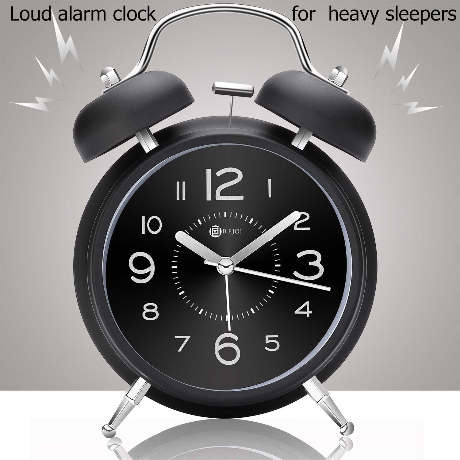 4'' Twin Bell Alarm Clock with Metal Dial, Nightlight, No Ticking Battery Operated Loud Alarm Clock for Bedroom (Black) by B.F.JOI (Image #5)