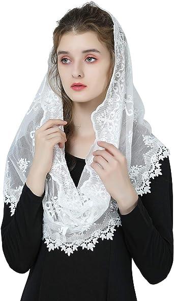 Mantilla De Encaje Española Mujer Capilla Velo Pañuelo de Lglesia Católica Bordado Chal Bufanda Negra Blanca V112: Amazon.es: Ropa y accesorios