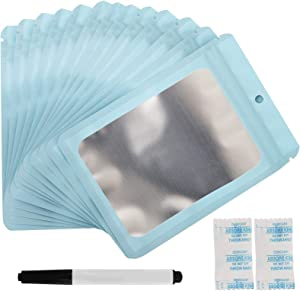 100 Pieces Resealable Mylar Ziplock bags, Foil Bags, Packaging bags for Food Self Seal Smell Proof Pouch, with 30 Pack Food Grade Desiccant and a Marker Pen (Sky-blue, 3.5 x 4.65 Inch)