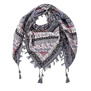 DAMILY Écharpe Femmes Ethnique Style Tassel Imprimé Foulards carrés Coton  Femmes Wraps Mode Automne Hiver Châles 93d9614549b