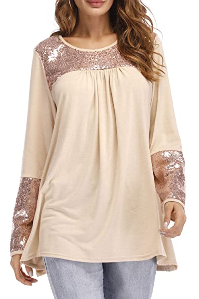 4a43cbc066d74 Zara Beez Women Shimmer Sequin Bust Neck Long Sleeves Top at Amazon ...