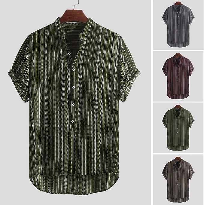 Herren Sommer Freizeithemd Kurzarm T-Shirt Strand Hawaiihemden Lose Knopf Tops