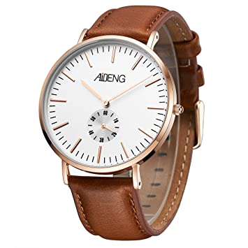 AIDENG Mens Watches Minimalist Fashion and Classic Big Face Rosegold Case Brown Leather Strap