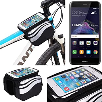 K-S-Trade Bolso Funda Bicicleta para Huawei P8 Lite 2017 Dual SIM, Teléfono Móvil Funda Móvil Soporte Tubo Bici Ciclismo, Negro Y Plata, Impermeable Resistente Al ...