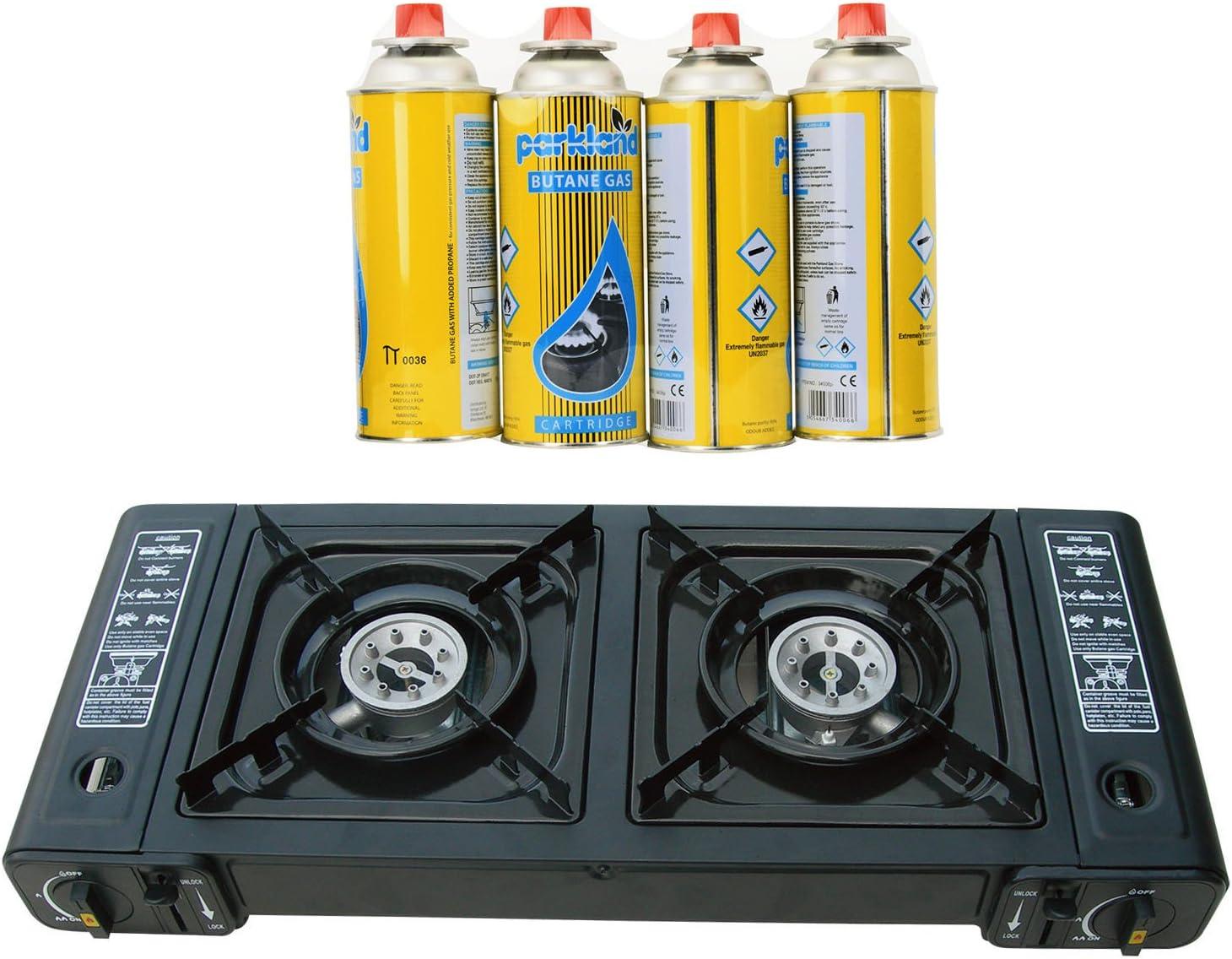 Topflame - Quemador doble de cocina de camping gas + 4 Recargas de gas