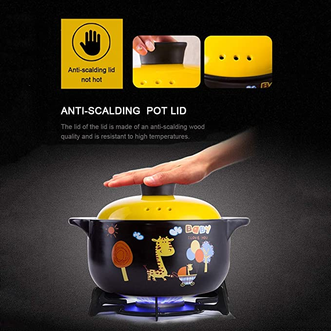 Amazon.com: Casserole Ceramic Pot Stone Pot Earthen Pot Large Capacity Kitchen Utensils Stockpot Stew Gift Home Cartoon Anti-scalding Full Glaze With Lid ...