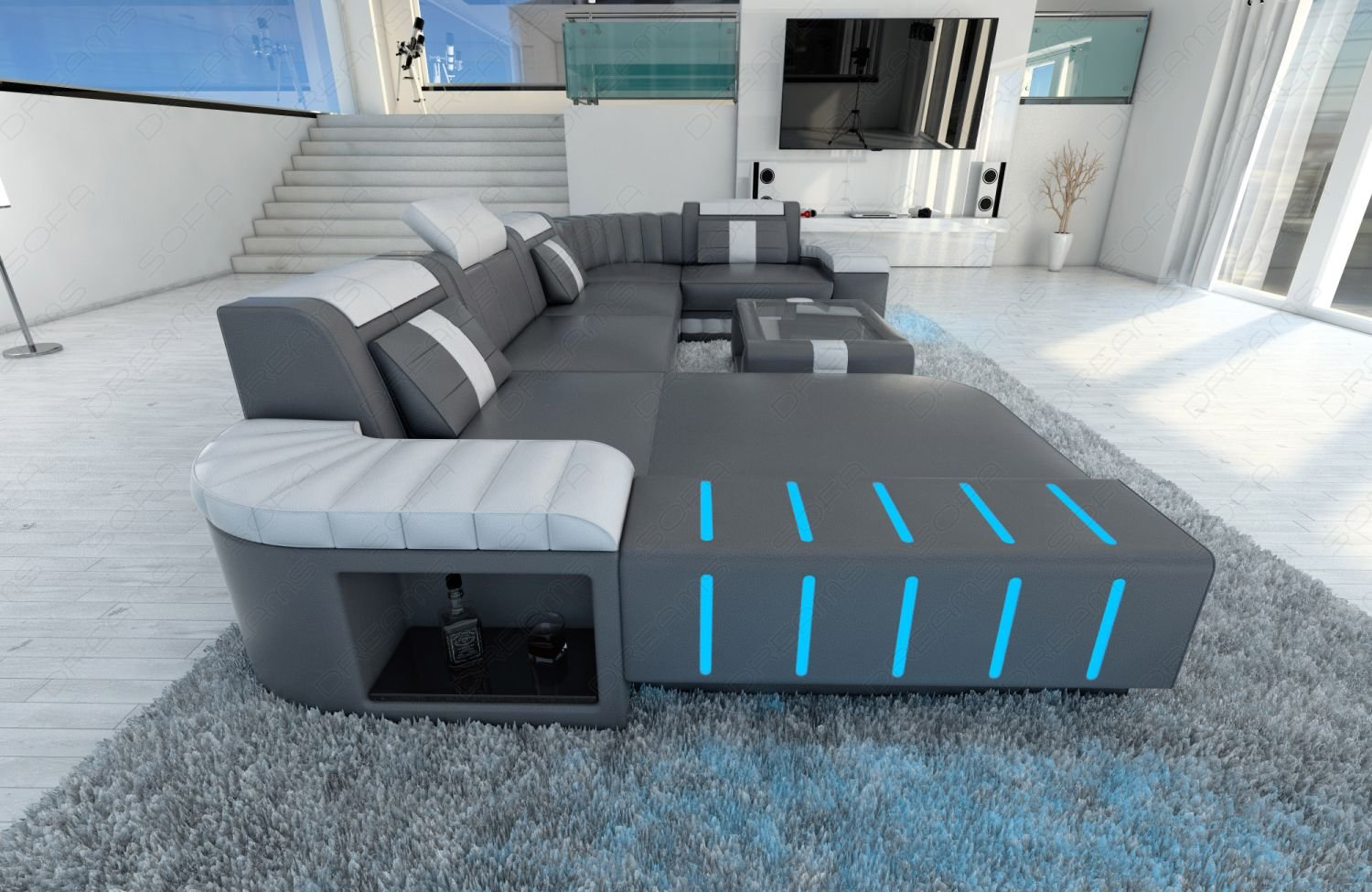 Designer couch leder  Amazon.com: Design Sectional Sofa BELLAGIO LED U Shape: Kitchen ...