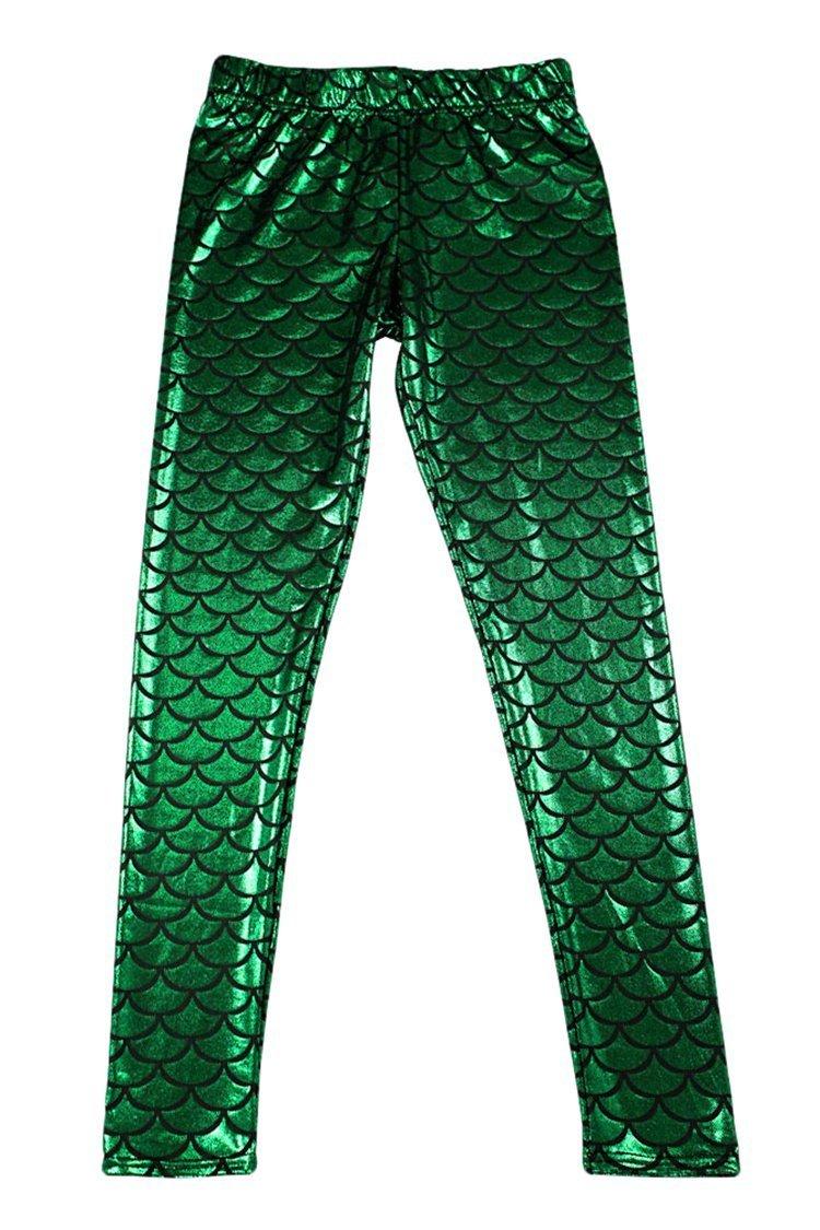 Alaroo Shiny Fish Scale Mermaid Leggings for Women Pants Green Plus 4XL by Alaroo (Image #7)