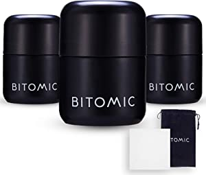 BITOMIC Herb Container Glass Stash Jar for Food, Spices | 3 Pc 1.7oz 50ml Smell Proof Container - UV Proof Air Tight Sealable | Child Resistant Refillable Jar Keeps Herbs Fresh – Matte Black