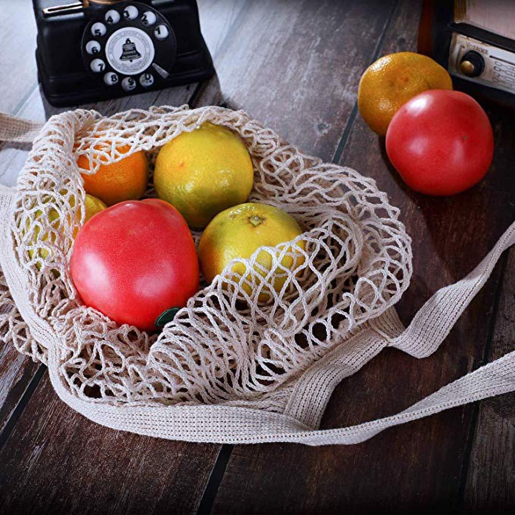 Romdink 2pcs Sac De Maille De Coton Organique R/éutilisable Sacs Nets De Filet De Produit De Coton Organique De Sac Portatif De Maille avec La Longue Poign/ée Sac De Maille De L/égumes et De Fruits