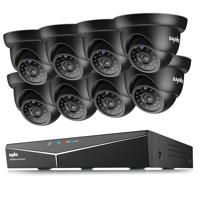 SANNCE Kit Videosorveglianza 1080P Lite DVR TVI 8 Canali 6 Telecamera Sorveglianza Esterno 720P Kit di Sorveglianza H.264 ONVIF Motion Detection P2P Cloud Visione Notturna 1TB HDD