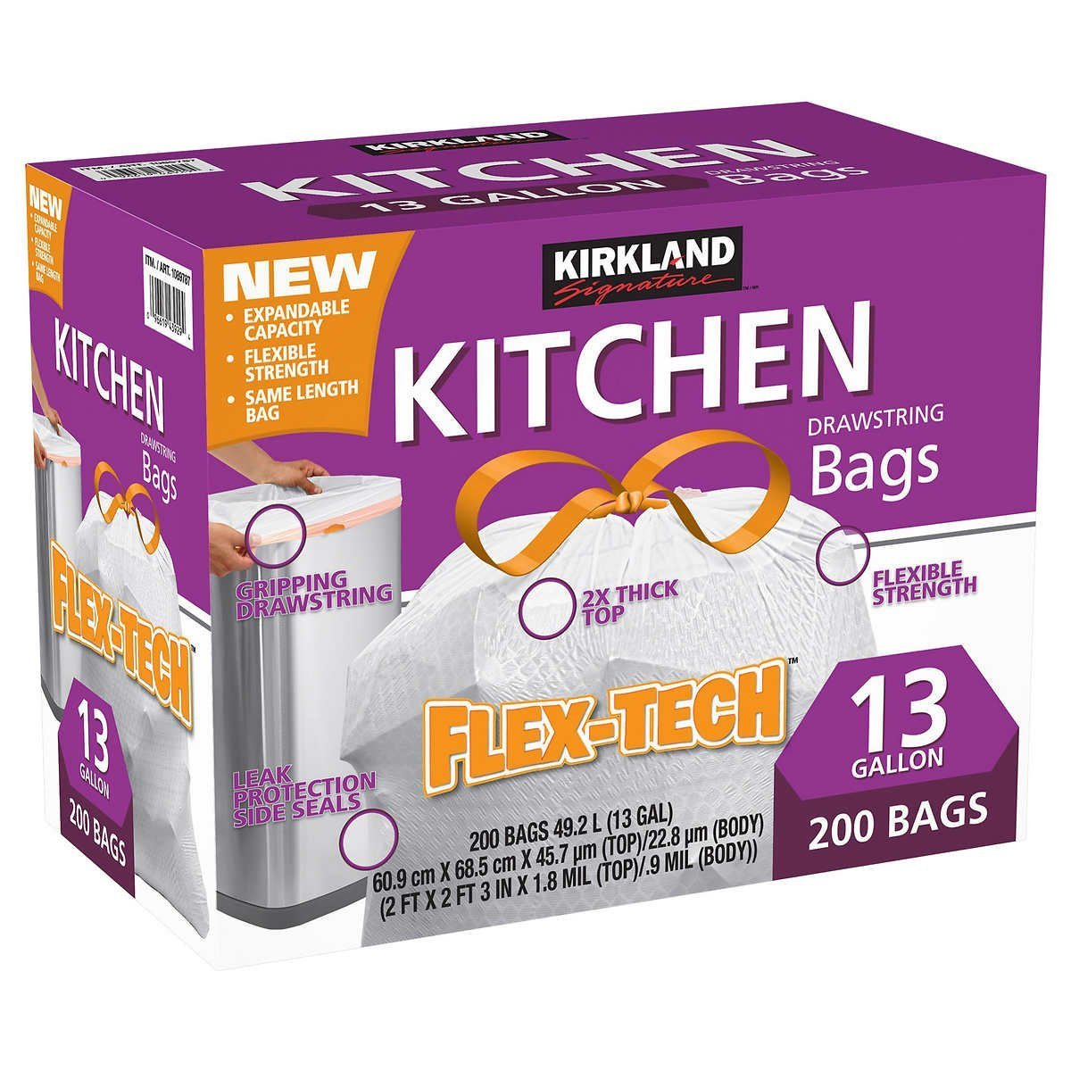 Kirkland Signature Drawstring Kitchen Trash Bags - 13 Gallon - 200 Count (2 Cases of 200)