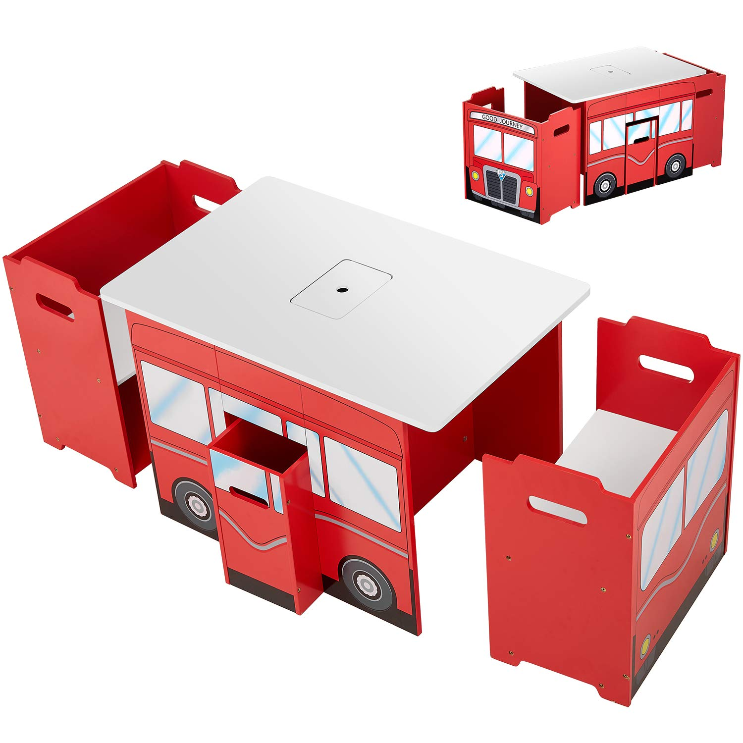 kealive Kids Table and Chairs Wooden Fire Truck Shape 4 Pieces Table and Chairs Set
