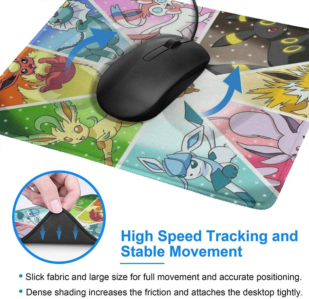 E-evee Mouse Pad with Stitched Edge Non-Slip Rubber Base Mousepad for Laptop 7.9 X 9.5 in