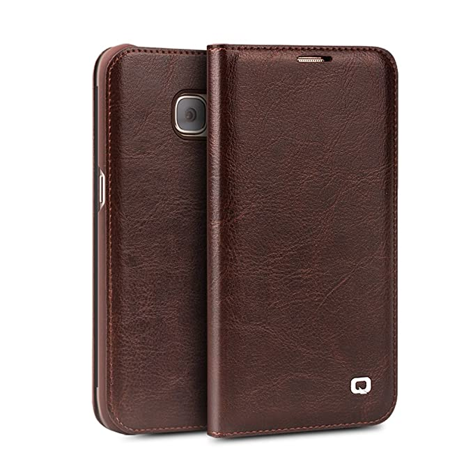 huge discount da45c 5056a Galaxy S7 Edge Case, QIALINO Stylish Genuine Leather Wallet Flip Cover for  Samsung Galaxy S7 Edge, Brown