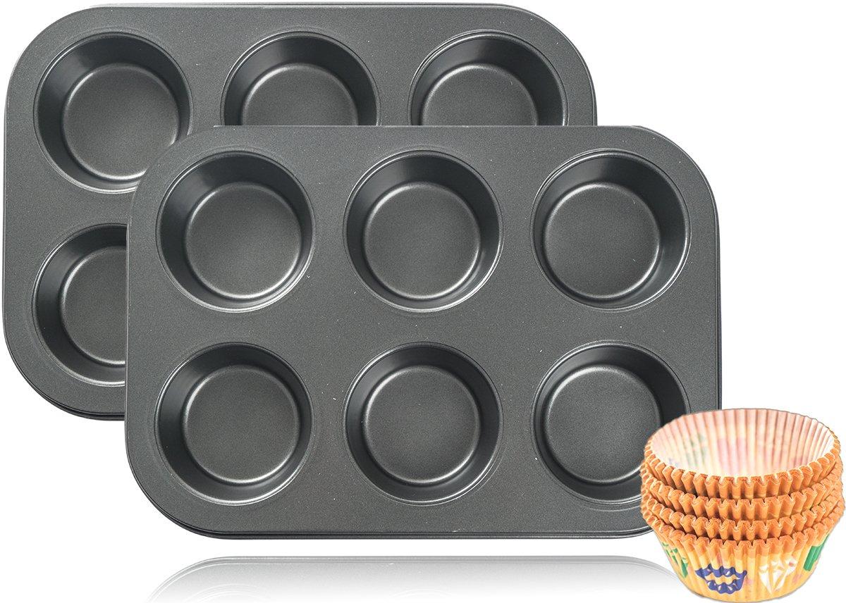 2x 6er Backblech Backform Muffinform für insgesamt 12 Muffins + 100 Papierförmchen GRATIS mixed24