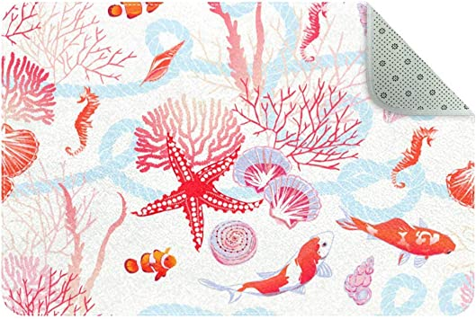 Sea With Fishes Red Star Shells Seahorse Algae Area Rug Carpet Non Slip Floor Mat Doormats For Living Room Bedroom 90 X 60 M 35x24in Furniture Decor