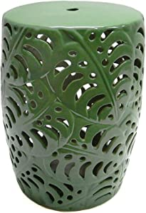 W Home Ceramic Palm Garden Accent Table in Green
