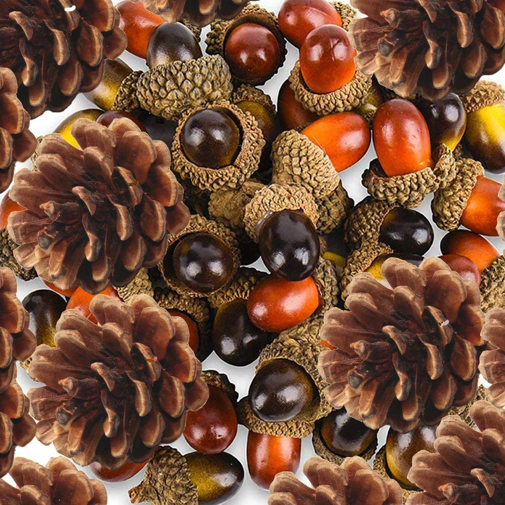 Yarssir 100 Pieces Craft Acorns Artificial Acorn Decor Fake Fruit Props Acorns Decoration Crafting DIY Home Party Wedding Decor Christmas Thanksgiving Festival, 2 Colors (120 Pack, Multicolor)