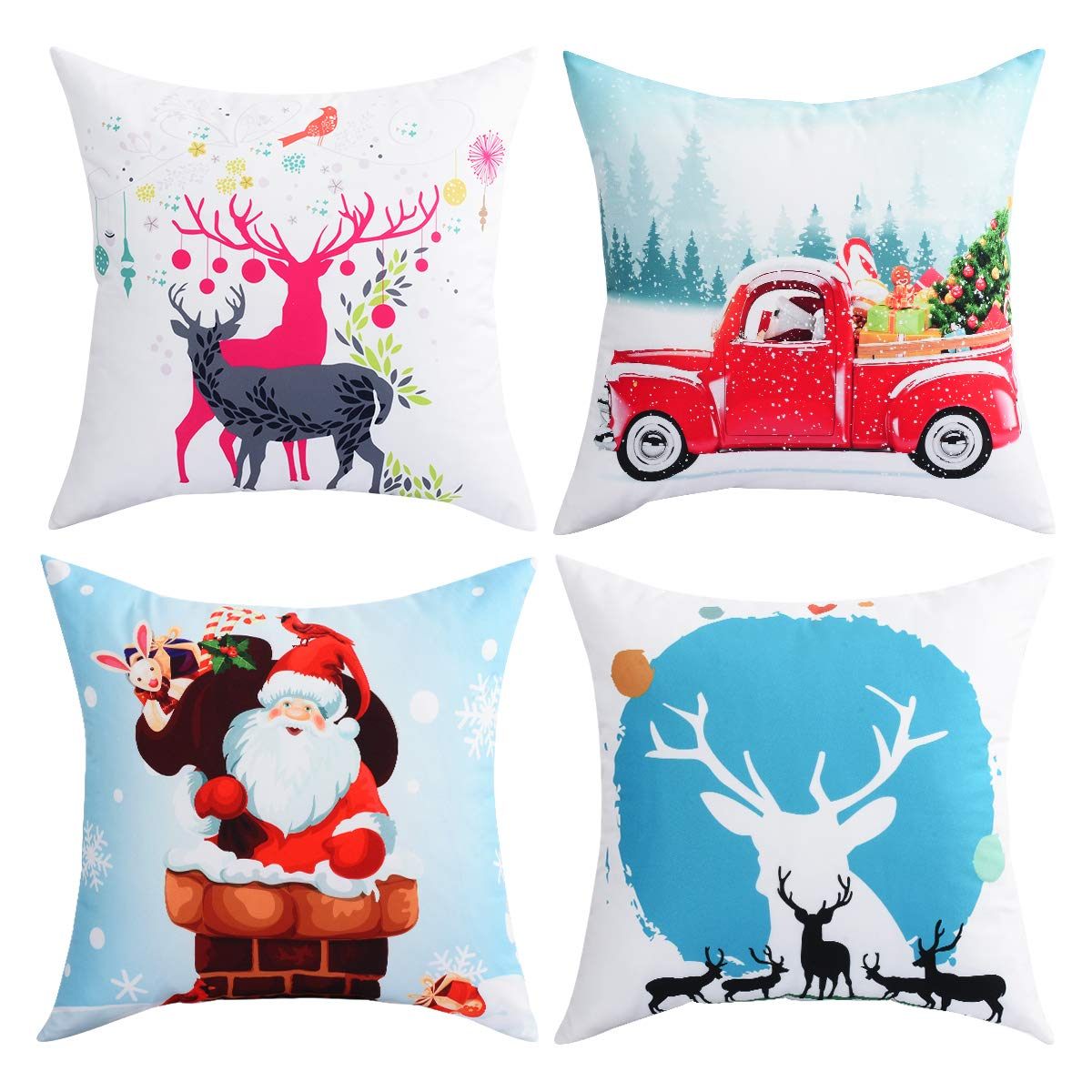 BLEUM CADE Pack of 4 Merry Christmas Decorative Sofa Throw Pillow Covers Case Daily Cushion Cover and Home Office Car