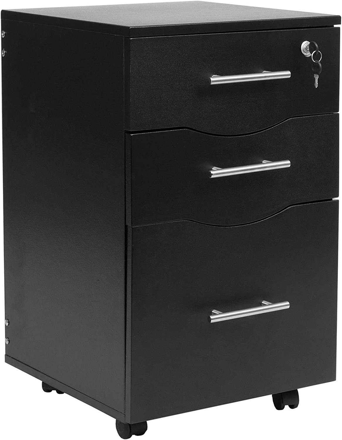 MMT Furniture Designs Ltd MMT-IV3333black Under Desk 33 Drawer Pedestal, Black