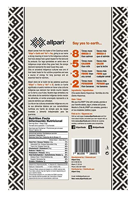 Amazon.com : Allpari Chia Seeds 4 Pack Pesticide and Chemical-Free 39.48 Ounce : Grocery & Gourmet Food