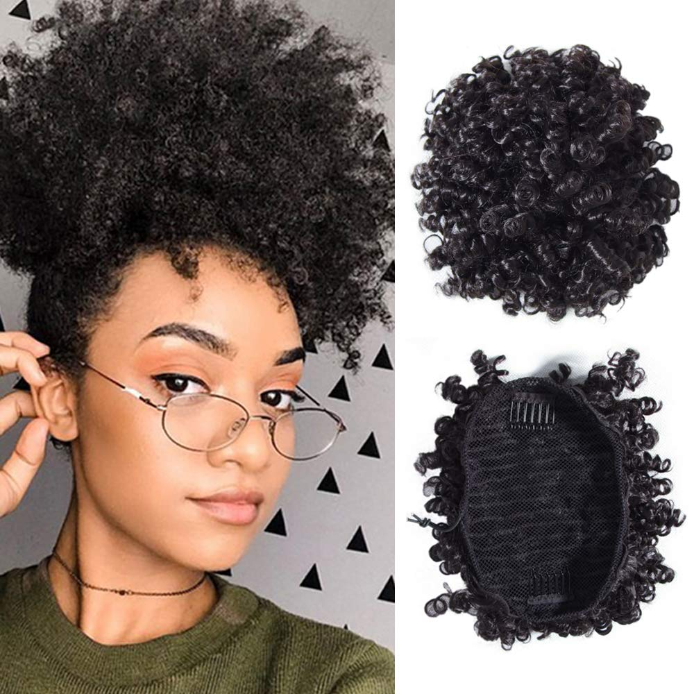 Donmily Afro Puff Drawstring Ponytail Short Kinky Curly Human Hair Bun Extension Donut Chignon Hairpieces Wig Updo Hair Extensions with Two Clips for Black Women (6, 1B) by Donmily